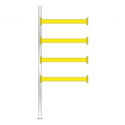 Paletten-Anbauregal für 10 Europaletten, Tragbalkenebenen mit 38 mm Spanplattenböden, Fachlast 2200 kg/Tragbalkenpaar, BxTxH 1885 x 1100 x 4500 mm