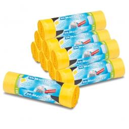 Müllsäcke gelb, mit Zugband, 60 Liter, BxH 645x710 mm, Paket=9 Rollen a´ 20 Stück