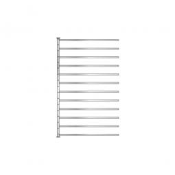 Fächer-Steck-Anbauregal, glanzverzinkt, HxBxT 2000x1235x315 mm, mit 12 Fachböden
