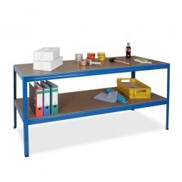 Arbeitstisch mit Fachboden BxTxH 1800 x 600 x 900 mm, Gesamttragkraft 700 kg, RAL 5010 enzianblau