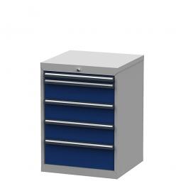 System-Schubladenschrank mit 5 Schubladen, BxTxH 600x575x820 mm, lichtgrau/enzianblau