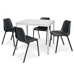 5-teiliges Tischgruppe-Komplettangebot, bestehend aus: 4 Schalenstühlen und 1 Tisch, BxTxH 1200 x 800 x 750 mm, lichtgrau/schwarz