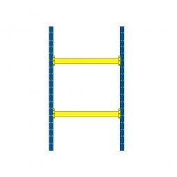 Palettenregal mit 2 Paar Tragbalken für 6 Europaletten, Fachlast 2400 kg/Tragbalkenpaar, BxTxH 2025 x 1100 x 3500 mm, blau