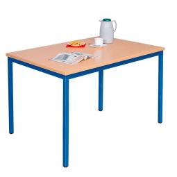 Kantinentisch Buche, BxTxH 1200x800x750 mm, Gestell: blau, Tischplatte 25 mm stark