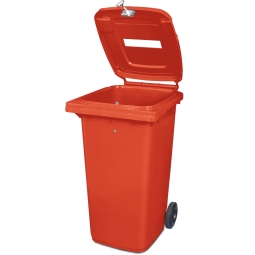 Müllbehälter mit Papiereinwurf, verschließbar, 240 Liter, rot