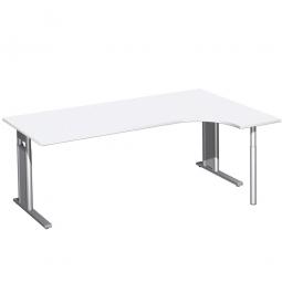 Schreibtisch PREMIUM, Schrankansatz rechts, Weiß/Silber, BxTxH 2000x800/1200x680-820 mm