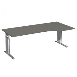 Schreibtisch PREMIUM höhenverstellbar, rechts, Graphit/Silber, BxTxH 2000x800/1000x680-820 mm