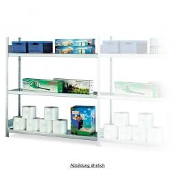 Weitspann-Anbauregal mit 3 Stahlbodenebenen, Stecksystem, glanzverzinkt, BxTxH 2006 x 535 x 2000 mm