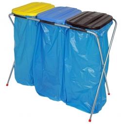 Leichter Wertstoffsammler,HxBxT 810x960x410 mm, Mit 3 Deckeln, für 3x 70 o. 120 Liter-Müllsäcke