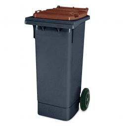 80 Liter MGB, Müllbehälter in anthrazit mit braunem Deckel