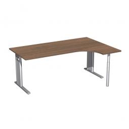 Schreibtisch PREMIUM, Schrankansatz rechts, Nussbaum/Silber, BxTxH 1800x800/1200x680-820 mm