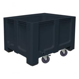 Großbox / Großbehälter mit 4 Füßen und 4 Lenkrollen, 2 mit Feststellbremsen, 610 Liter, LxBxH 1200 x 1000 x 835 mm, Boden/Wände geschlossen, anthrazit
