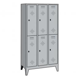 Stahl-Fächerschrank mit Füßen und Drehriegelverschluss, 6 Fächer, HxBxT 1850 x 1200 x 500 mm