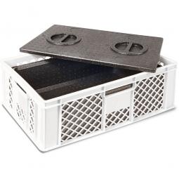 Eurobehälter mit EPP-Isolierbox, LxBxH 600 x 400 x 320 mm, 20 Liter, weiß