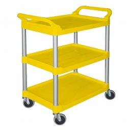 Servierwagen aus PP mit 3 Etagen, LxBxH 850x470x960 mm, Tragkraft 90 kg, gelb