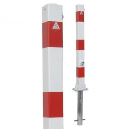 Absperrpfosten, sichtbare Höhe 900 mm, Vierkant 70x70 mm, umklappbar Ausführung, mit Bodenhülse