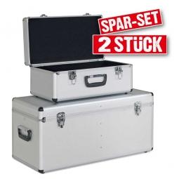 Alurahmen-Transportboxen, 2er-Set, Farbe silber, abklappbare Tragegriffe, abschließbar