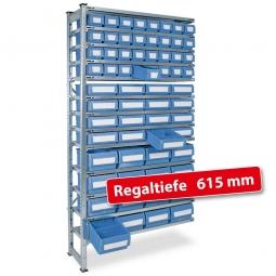 Fachbodensteck-Anbauregal, BxTxH 1000 x 615 x 2000 mm, 13 Böden, mit 64 Regalkästen, 3 Größen gemischt, Farbe hellblau