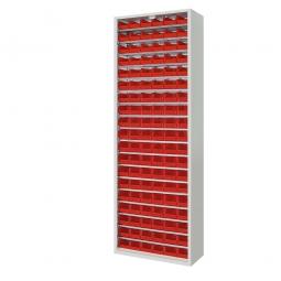 Schrank mit Sichtboxen, ohne Türen, HxBxT 1980x700x300 mm, lichtgrau RAL 7035