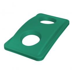 Deckel mit Flascheneinwurf, PE, BxTxH 290 x 520 x 70 mm, grün