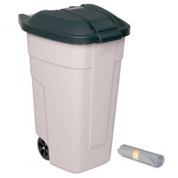 Rolleimer 100 Liter + GRATIS 50 Müllsäcke, BxTxH 510 x 550 x 850 mm, Korpus beige, Deckel anthrazit