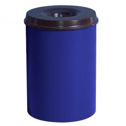 Sicherheits-Papierkorb, Inhalt 30 Liter, blau, HxØ 470x335 mm, Stahlblech, Einwurföffnung Ø 115 mm