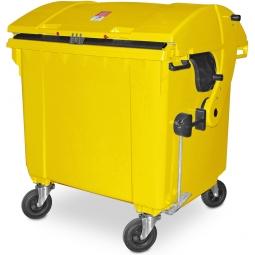 Müllbehälter, 1100 Liter, nach EN 840-6, gelb, BxTxH 1365 x 1060 x1450 mm, Polyethylen (PE-HD)