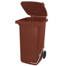 Müllbehälter 240 Liter, braun, mit Fußpedal, HxBxT 1075x580x730 mm, Niederdruck-Polyethylen (PE-HD)