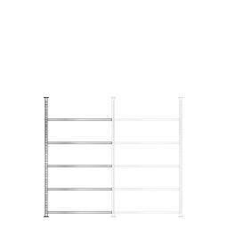 Ordner-Anbauregal, Schraubsystem, glanzverzinkt, 5 Böden, BxTxH 1000 x 600 x 1850 mm