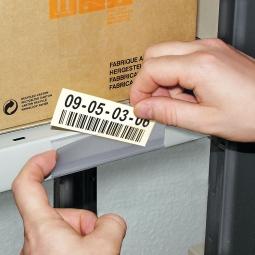 Etikettenhalter, VE = 50 Stück, selbstklebend, BxH 200 x 62 mm, mit 10 Bogen weißen Etiketten