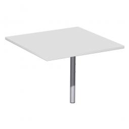 Verkettungsplatte ELEGANCE Volleck mit Stützfuß, Dekor Lichtgrau, Gestell Silber, BxTxH 800x800x680-820 mm