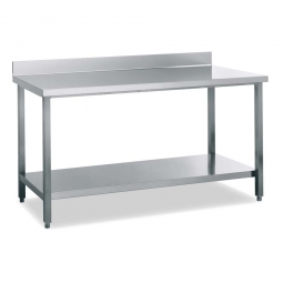 Arbeitstisch mit Aufkantung 40 mm, Edelstahl, CNS 18/10, höhenverstellbar von 850 bis 900 mm