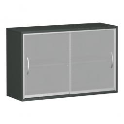 Glas-Flügeltürenschrank PRO, 2 Ordnerhöhen, graphit, BxTxH 800x425x768 mm