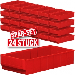 "Regalkasten-Set ""Profi"", 24-teilig, rot, LxBxH 400 x 183 x 81 mm, Polypropylen-Kunststoff (PP)"