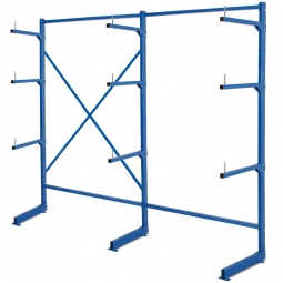 Komplettes Kragarmregal, BxTxH 2090 x 450 x 1950 mm, 3 Ständer und 9 Arme mit Abrollsicherung, blau