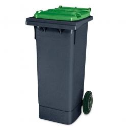 80 Liter MGB, Müllbehälter in anthrazit mit grünem Deckel