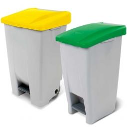 Spar-Set, 2x Tret-Abfallbehälter, 60 Liter Deckel grün + 80 Liter Deckel gelb, Korpus grau