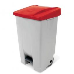 Tret-Abfallbehälter mit Rollen, PP, BxTxH 490 x 420 x 740 mm, 80 Liter, grau/rot