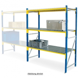 Weitspannregal mit 3 Stahlblechebenen, Stecksystem, BxTxH 2380 x 405 x 2000 mm, Tragkraft 1100 kg/Ebene