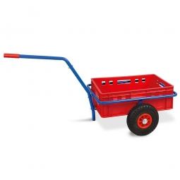Handwagen mit E2 Kunststoffkasten, H 200 mm, rot, LxBxH 1250 x 640 x 660 mm, Tragkraft 200 kg