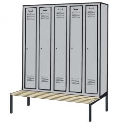 Kleiderspind mit untergebauter Sitzbank und Drehriegelverschluss, HxBxT 2090x1480x500/815 mm