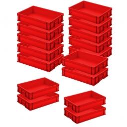 12x Euro-Stapelbehälter + 4 Behälter GRATIS, Farbe rot, LxBxH 600 x 400 x 120 mm