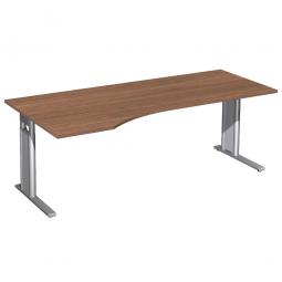 Schreibtisch PREMIUM höhenverstellbar, links, Nussbaum/Silber, BxTxH 2000x800/1000x680-820 mm