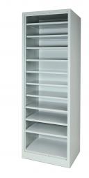 Material-Regalschrank für Sichtkästen, ohne Türen, BxTxH 600 x 500 x 1800 mm