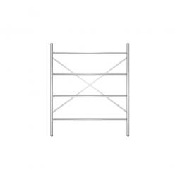 Aluminiumregal mit 4 geschlossenen Regalböden, Stecksystem, BxTxH 1500 x 500 x 1800 mm, Nutztiefe 440 mm