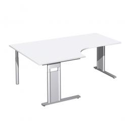 Schreibtisch PREMIUM, Tischansatz links, Weiß/Silber, BxTxH 1800x800/1200x680-820 mm
