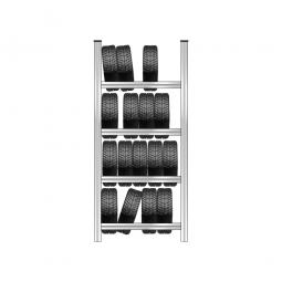 Reifenregal mit 4 Reifenebenen, verzinkt, Stecksystem, BxTxH 1130 x 425 x 2500 mm