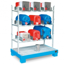 Kanister-Abfüllstation, BxTxH 1300 x 800 x 1720 mm, 84 Liter, blau
