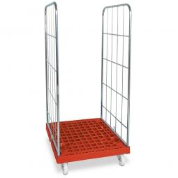 Gitterrollwagen für Eurobehälter, LxBxH 815 x 682 x 1660 mm, 2-seitig, rot