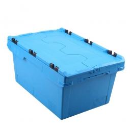 Universal Klappdeckelbox, verplompbar, LxBxH 600 x 400 x 200 mm, 29 Liter, blau